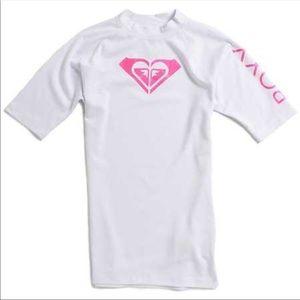 NEW White Roxy Rash guard beach shirt